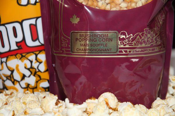 Mushroom flavoured popcorn package